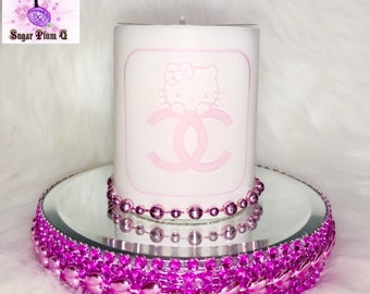 Chanel Ultra Bling Scented Hello Kitty Candle with Mirrored Pink Platform Display Tray   Designer Inspired