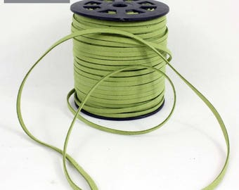 Flat 5 mm Green suede cord, sold by the yard