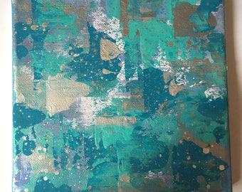 Ocean Spray (approx 16x15cm), abstract acrylic painting on canvas.