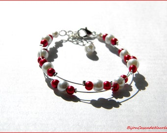 Red jewel bridal White Pearl wedding bracelet