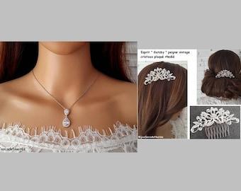 set jewelry - wedding ornament - comb and tear - drop necklace - zirconium rhodium - Austrian crystals - rhodium plated Bridal - jewelry