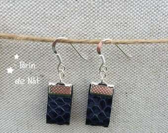 Faux leather and silver hook earrings
