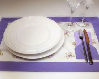 Placemat with napkin customizable Pocket by letter of the alphabet