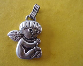 Sitting Angel pendant, antique silver - 4cm