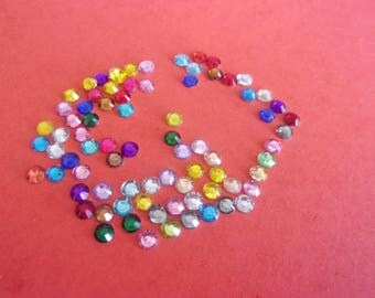 Set of 20 mini rhinestones colorful faceted acrylic paste - 2mm