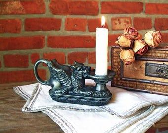 Soviet vintage Metal candleholder Vintage candleholder Candelabrum Candlestick griffin Lion candlestick