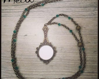 "Necklace in bronze and glass ""mirror"""