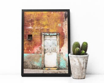 Abstract Rustic Door of Mexico - Doors of Mexico - Minimal Door Art - Colorful Doors - Minimal Art - Travel Door Art - Tiny House Art