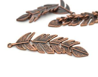 1 metal 6.2x1.7cm copper feather pendant