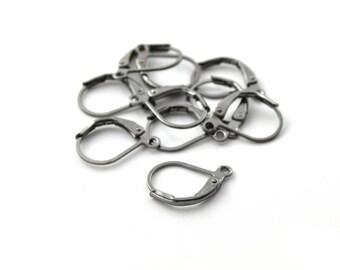 10 earrings black 16x10mm