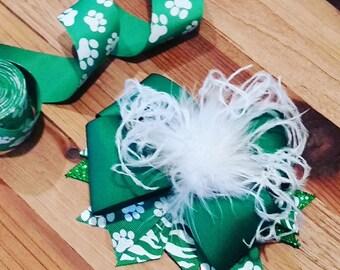 Custom Bulldog Boutique Bow, Green and white, ostrich maribou puff, spirit, cheer