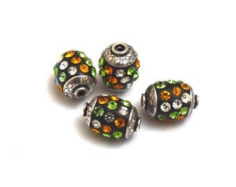 High quality Indian bead - barrel (17mm) - black, green, Orange and silver