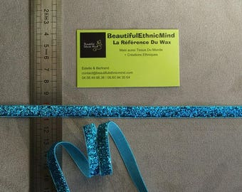 Sparkly blue glitter Ribbon clear 10 mm