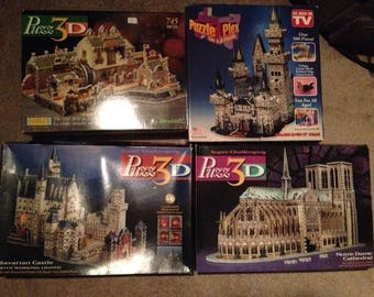 9 x 3-D Puzzles - Medevil Castle, Notre Dame, City Mill & Bavarian Castle CIB