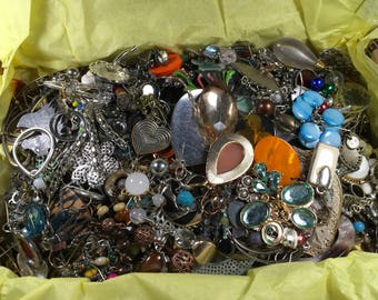 E28, Jewelry Lot, Mixed Earrings, wear, repair, reuse, steampunk, craft supplies, vintage to now