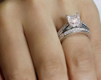 925 Sterling Siver Princess Cut CZ Wedding Engagement Rings Set Size 5-9 Ss749