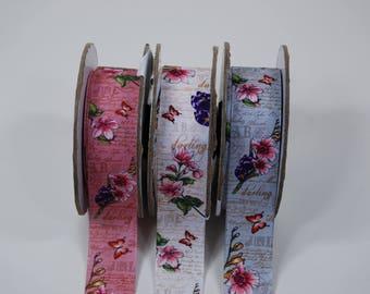 Darling 20mm 3 colors flowers printed Matt satin ribbon