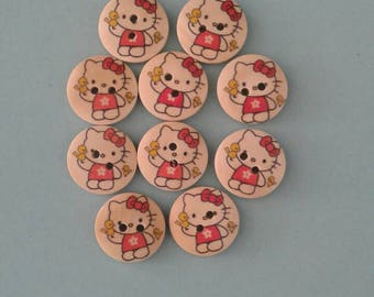 10 wooden 2 hole round cat buttons -  sewing, knitting, crochet, card making, papercrafting, scrapbooking - animals, feline
