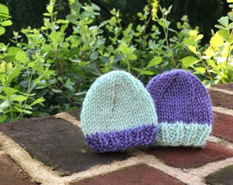 Two Color Knit Baby Hat
