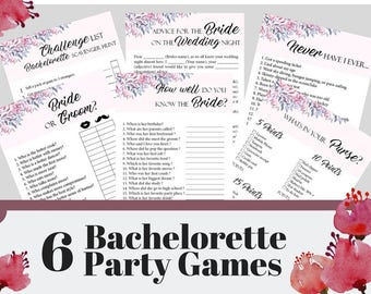 6 Bachelorette Party Games, Printable Bachelorette Game, Bridal Shower Game, Hens Night Game