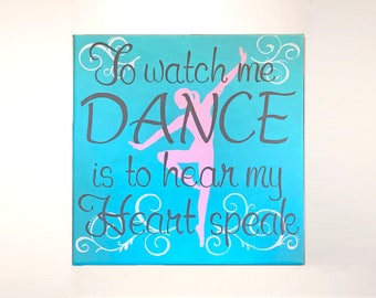Custom Dance Painting - Hand-painted dancer silhouette, layered with a quote. Optional personalization. A one-of-a-kind gift!