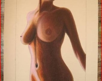 'Pleasure' pastel (nude) with oil on paper canson and frame