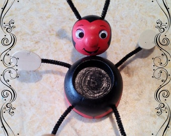 Ladybug red and black wooden tealight hinged