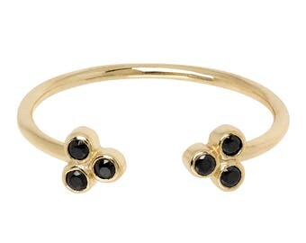 DOTS ring - open ring - dainty ring - minimal ring- balls - flower- black zirconias