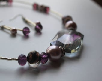 Romantic Purple Crystal Necklace and Earrings set