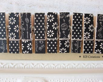 9 clips linens decorated (No. 28) black (small and thicker)