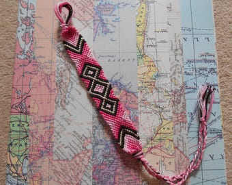 Pink and Silver Macrame Woven Friendship Bracelet