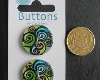 2 buttons by La Mode ref n.1991 - 25mm