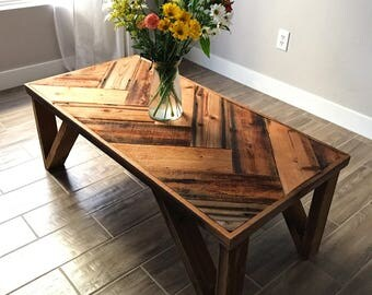 Reclaimed wood coffee table. Herringbone coffee table. Rustic coffee table. Rustic table. Reclaimed wood table. Reclaimed wood table.