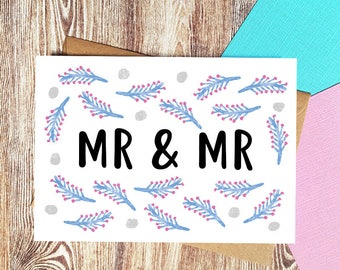 Mr & Mr Card, Wedding Card, Gay Wedding Card, Gay Marriage Gifts, Groom and Groom Card