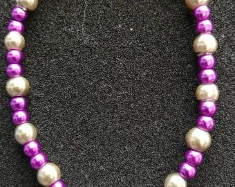 120. Purple & Grey Pearl Beaded Bracelet