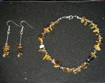 334. Genuine 'Tigers Eye' Beaded Bracelet With Matching Earrings