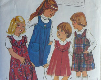 Girl's Dress, Jumper and Blouse Pattern - Vintage Children's Style 2811 - Size 4