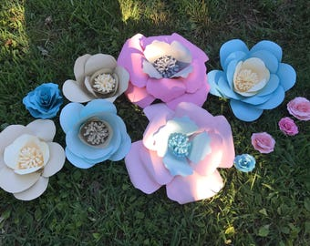 Large 3d flower set pinks and blue