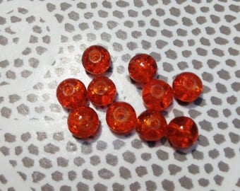 Set of 10 Red Crackle glass beads 6 mm in diameter