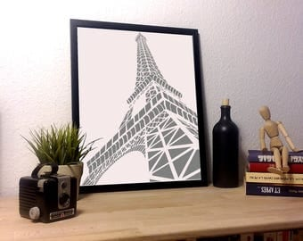 Poster monochrome Eiffel Tower on satin matte paper