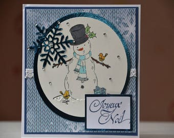Merry Christmas card children fashion knitted snowman