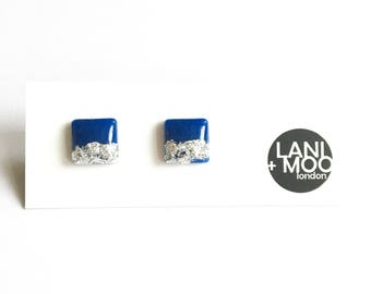 Square Blue Resin Stud Metallic Silver Leaf Statement Earrings!