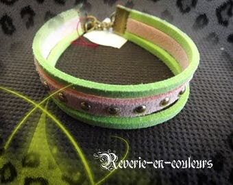 "Two-tone suede ""Nymph"" Cuff Bracelet"