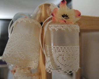 Macrame lace and tulle light string