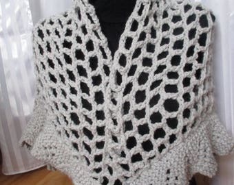 wool grey shawl for women crochet and knitting, mothers day gift
