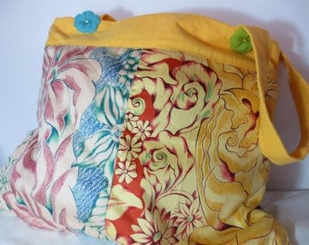 Fabric bag cotton exotic flowers.