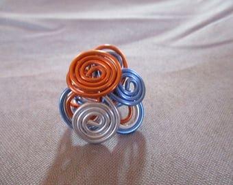 blue orange aluminum ring and adjustable