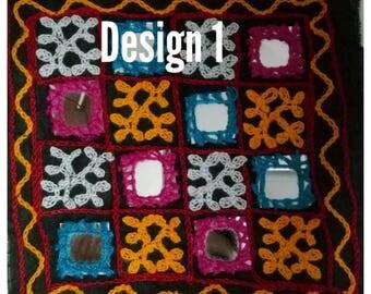 Multicolored Banjara Yoke Mirror Work, Handmade Applique Patch Embroidered Neck Yoke Banjara Fabric