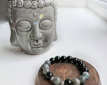Unisex bracelet with labradorite and onyx beads, silver 925
