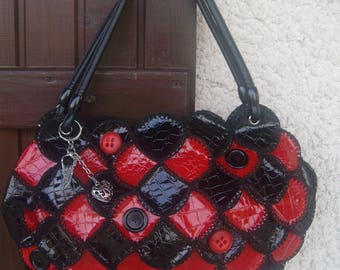 Red and black patent leatherette bag